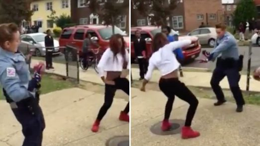 Dance-off between police officer and teen breaks up street fight