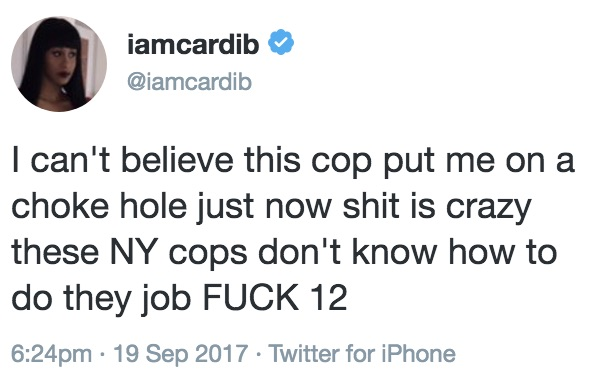 Cardi B Tweets About An Nypd Officer Assaulting Her Trace