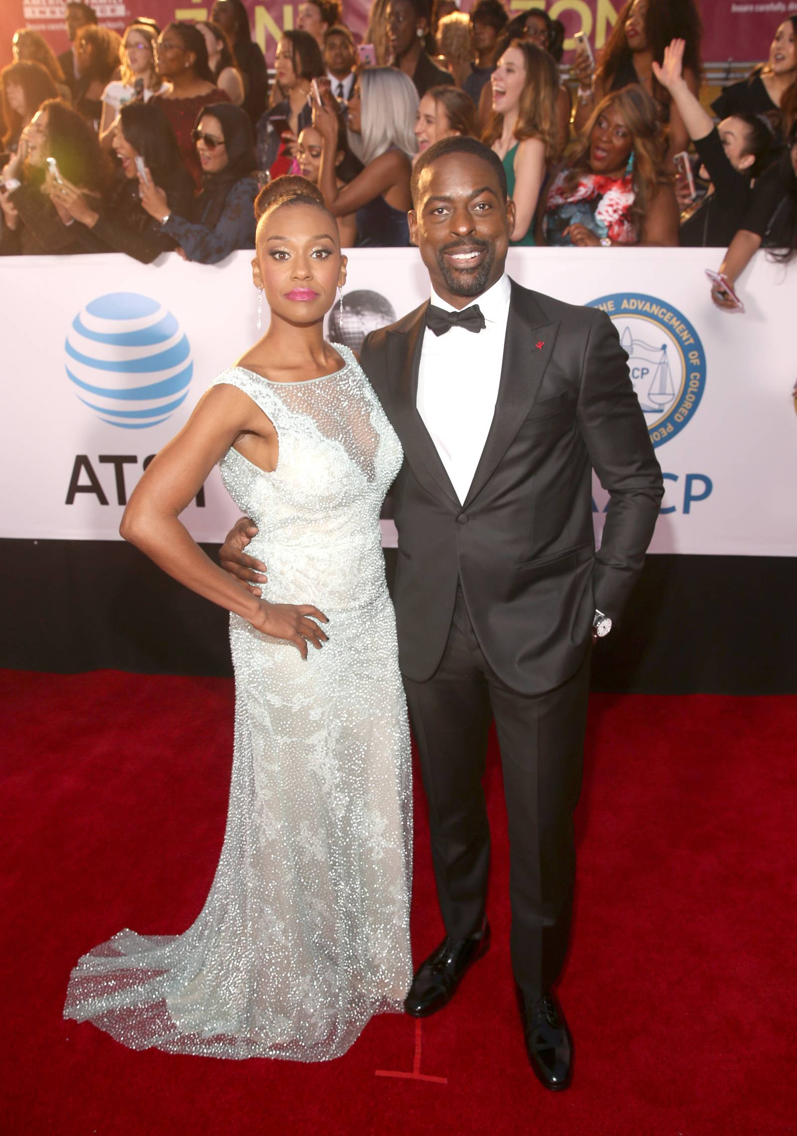 Ryan Michelle Bathe (L) and Sterling K. Brown (Photo by Jesse Grant/Getty Images for NAACP )