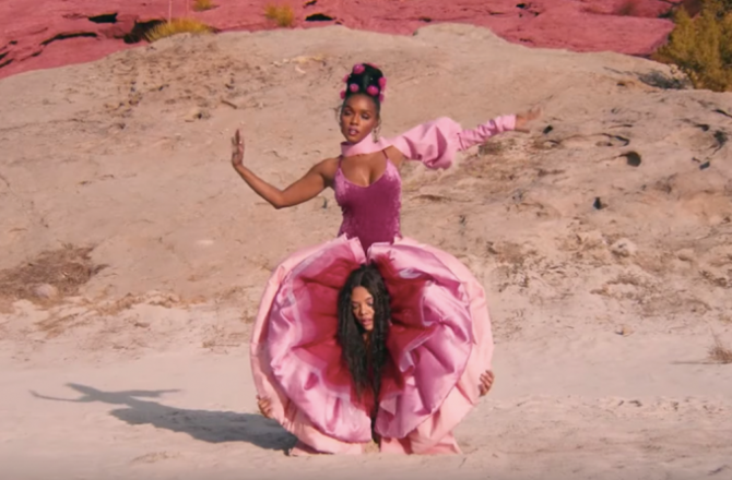 Janelle Monae long time friend and rumour partner makes an appearance in the PYNK video.