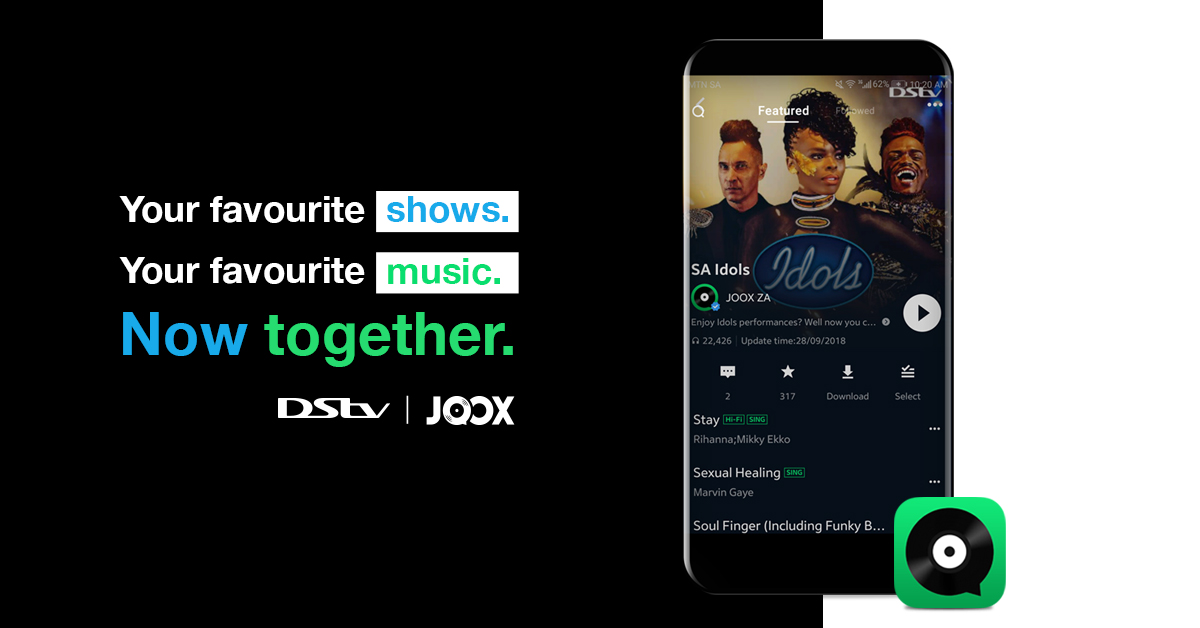 DStv earlier this month announced that they will be givingtheir customers access to all the world's music – in addition to the best local and international sport and entertainment. DStv account holders with an active DStv Premium, Compact Plus and Compact subscription get free access to JOOX VIP for themselves and their family. This offer is valued at R89.99pm.